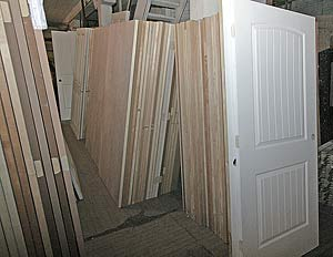 Photo of door blanks in stock at Overhauser's Outlet.