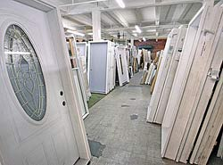 A photo of many pre-hung doors.