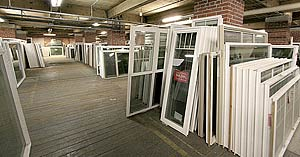 Photo of some of the windows in stock at Overhauser's Outlet.